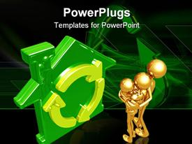 PowerPoint template displaying 3D graphics of three gold colored human characters hugging