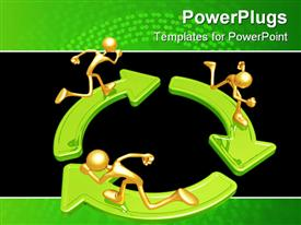 PowerPoint template displaying three gold figures running on green arrows arranged in circle