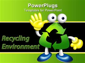 PowerPoint template displaying waving figure made with green recycling symbol wearing yellow gloves and blue shoes