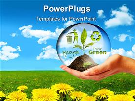 PowerPoint template displaying a hand holding a plant with flowers in the background