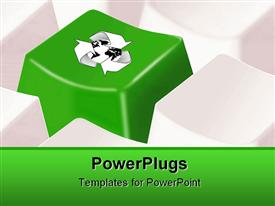 PowerPoint template displaying keyboard buttons with green button wearing the symbol of globe surrounded by recycling symbol