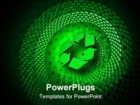 PowerPoint template displaying glowing recycle symbol over a dark green spiral dot pattern