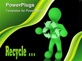 PowerPoint template displaying green figure holding recycle symbol in front of black background