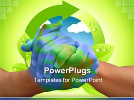 PowerPoint template displaying two adult hands clasped together with a recycle symbol