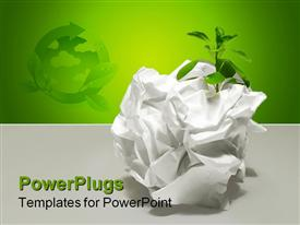 PowerPoint template displaying a squeezed piece of white colored paper with a plant in it