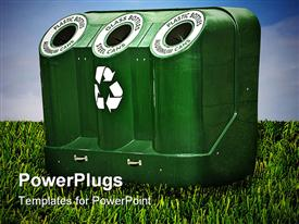 PowerPoint template displaying green recycle bin with three openings on green grass