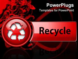 PowerPoint template displaying recycle icon button, red glossy, depiction
