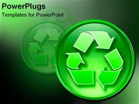 PowerPoint template displaying recycle sign enhanced in the background.