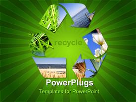 PowerPoint template displaying recycle symbol showing grass, water, sky, flowers, green striped background