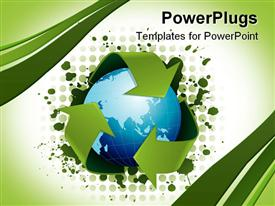 PowerPoint template displaying recycling concept with globe surrounded by three green arrows representing recycling