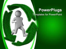 PowerPoint template displaying a fiure with a recycle sign and greenish background