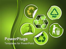 PowerPoint template displaying set of green labels badges and stickers with recycle icons