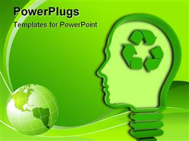 PowerPoint template displaying light bulb / human head with recycling symbol on green background