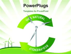 PowerPoint template displaying recycle wind turbine on a white background depiction design in the background.