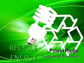 PowerPoint template displaying energy saving bulb and a recycle sign text that spells out