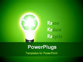 PowerPoint template displaying high Resolution Recycle Idea Bulb with words Reuse, Reduce and Recycle