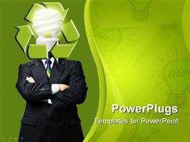 PowerPoint template displaying corporately dressed adult male with a bulb and recycle symbol for a head