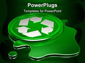 PowerPoint template displaying green circle with white recycle logo on green liquid