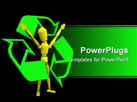 PowerPoint template displaying yellow figure surrounded by green recycling symbol on black background
