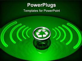 PowerPoint template displaying silver colored recycle symbol with green radiation around it