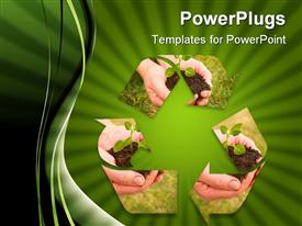 PowerPoint template displaying hands and soil recycle sign for earth in the background.