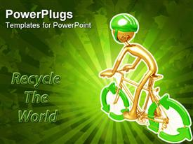 PowerPoint template displaying animated depiction of a human on a bike with a recycle sign