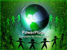 PowerPoint template displaying conservation, ecology, green living metaphor with people holding hands around Earth, green leaves