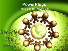 PowerPoint template displaying let's recycle the world of nature icon