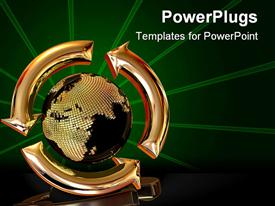 PowerPoint template displaying a globe in golden color with green lines in the background
