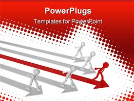 PowerPoint template displaying four white men on white arrows and red man on red arrow