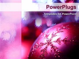 PowerPoint template displaying a close up shot of a purple colored Christmas tree ornament