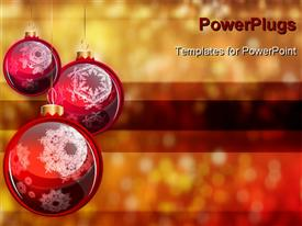 PowerPoint template displaying christmas Balls on colored background