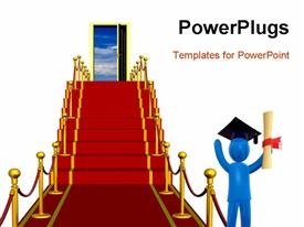 PowerPoint template displaying graduate standing on red carpet in front of stairs wearing graduates hat and waving with diploma