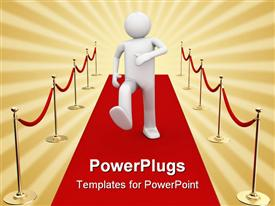 PowerPoint template displaying white character man walking on a red carpet stardom