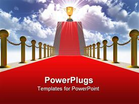 PowerPoint template displaying ladder with a red carpet. Gold columns with a circuit in the background.
