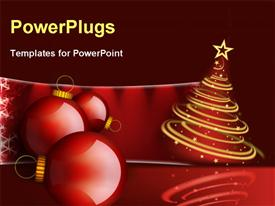 PowerPoint template displaying christmas decoration balls with tree
