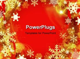 PowerPoint template displaying abstract red Christmas background with many snowflakes