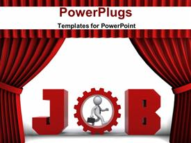 PowerPoint template displaying rendering conceptual depiction Theatre style red curtains in the background.