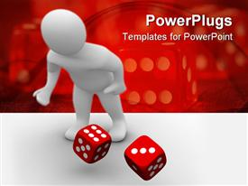 PowerPoint template displaying man throwing red dices in the background.