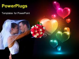 PowerPoint template displaying happy couple with flower bouquet hugging with glowing colorful heart shapes