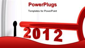 PowerPoint template displaying red key for 2012 year over the white door with keyhole conceptual