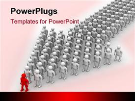 PowerPoint template displaying leadership metaphor with red man at front of silver men standing in arrow shape