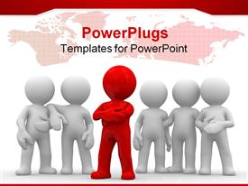 PowerPoint template displaying red figure leads group of white figures