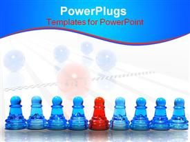 PowerPoint template displaying row of glossy blue pawns and a red pawn in the middle