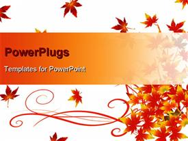 PowerPoint template displaying floral background with red autumn leaves on white surface