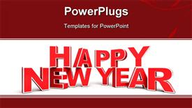 PowerPoint template displaying red Happy New Year background