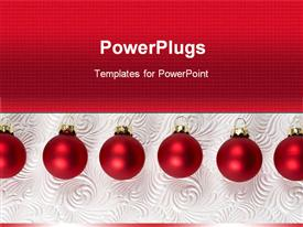 PowerPoint template displaying christmas theme with six red Christmas decoration balls on abstract pattern background and red background