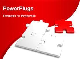 PowerPoint template displaying incomplete jigsaw with a red piece and nice curve in background