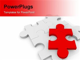 PowerPoint template displaying 4 Puzzle pieces with a red piece on top in the background.