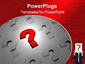 PowerPoint template displaying question marks in red white and back, business man with question mark head, red background